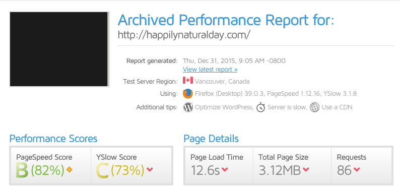 82% pagespeed score for happilynaturalday-com